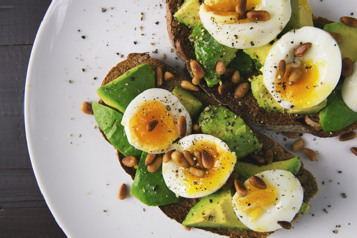 avocado and poached egg.