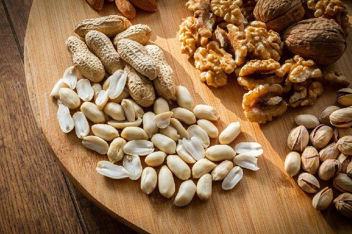 peanuts, walnuts, and almonds.